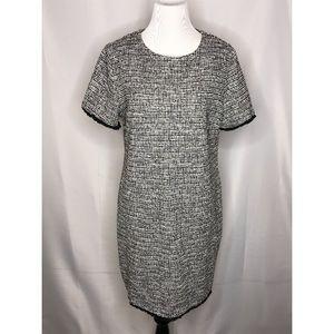 Black/White/Gray Textured Short-Sleeved Dress